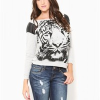 Heather Tiger Sweater - Tops