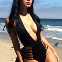 Black Plunging Strappy Monokini