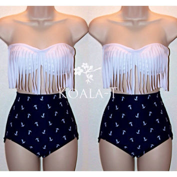 White Fringe Bandeau Top & Anchor Print High Waist Bikini! LIMITED EDITION!