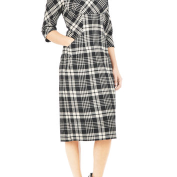 Flannel check empire seamed A-line dress
