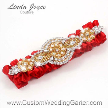 Red and Gold Vintage Wedding Garter Rhinestone 299 Red Christmas Custom Luxury Prom Garter Plus Size & Queen Size Available