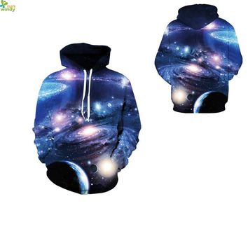 Blue Sparkling Universe Hoodies Outerwear Space Universe Skateboard Sweatshirt Autumn Loose Hooded Tracksuit Winter Men Jackets