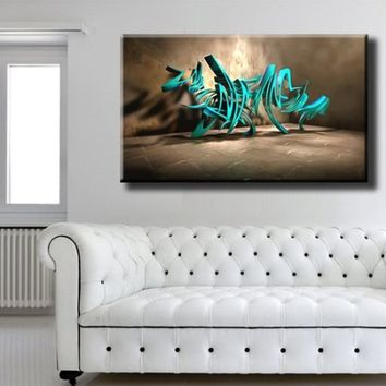 "Large Size 26x43"" Box Framed Canvas Print Artwork Stretched Gallery Wrapped Wall Art Like Painting Hanging Original Decorative Modern Home & Living Decor Inscription Lettering Title Graffiti Wall Turquoise (Canm40)"