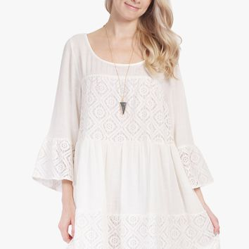 3/4 Bell Sleeve Crochet Dress