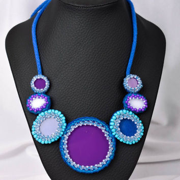 Handmade textile necklace beaded necklace beadwork ideas gifts for her