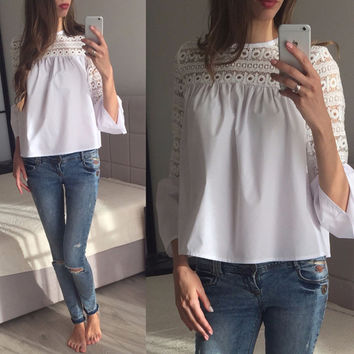 Lemon Sweet Crochet Female Top Tees White Cut Out Casual Slim Chic Women Top Autumn Ruffle Sleeve Contrast Chic T-shirt