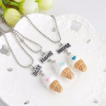 "3 pcs/set Ice Cream Necklace ""Best, Friend, Forever"" Lovely  Heart Friendship BFF Keepsake"