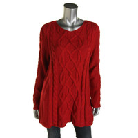 Charter Club Womens Oversized Cable Knit Pullover Sweater