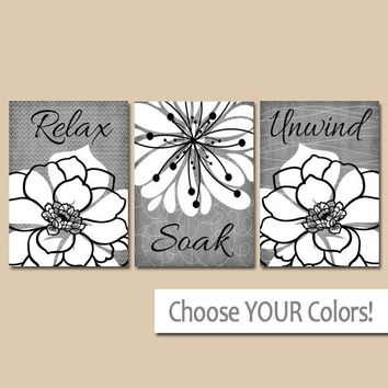 Gray BATHROOM WALL Art, CANVAS or Prints, Relax Soak Unwind, Rustic Bath Quote Pictures, Farmhouse Bathroom Quotes, Set of 3 Decor Pictures