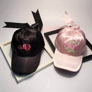 Women spring summer rose embroidery bow baseball cap Pink/ black fashion personality baseball cap
