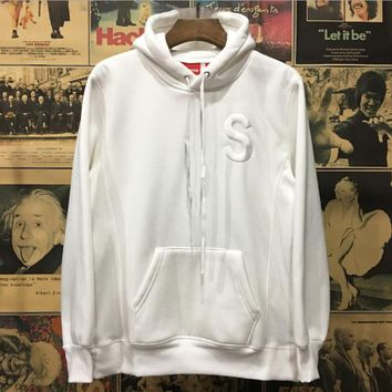 Supreme 2017 new couple Hip-Hop sup embroidered logo hooded multicolor plus cashmere sweater coat White