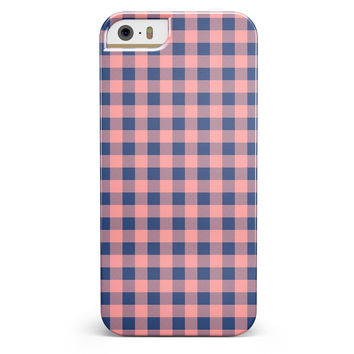 Coral and Navy Plaid Pattern iPhone 5/5s or SE INK-Fuzed Case