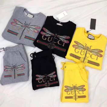 """ GUCCI "" Dragonfly Print Top Sweatshirt Pants Set Two-Piece"