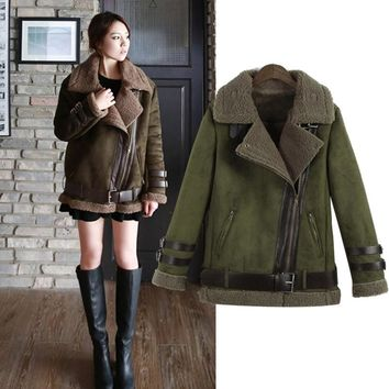 New 2016 Winter Women Shearling Coats Faux Suede Leather Jackets Coat Faux Lambs Wool Patchwork Coat Outerwear S-XXL W893