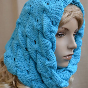 Knitted hat,scraf,wool, made to order,  handmade,blue,cashmira