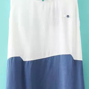 White and Blue Round Neckline Button Embellished Tank Top