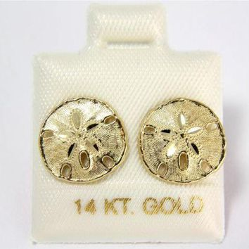 11.5MM 14K SOLID YELLOW GOLD HAWAIIAN SAND DOLLAR STUD POST EARRINGS DIAMOND CUT