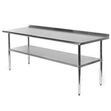 Stainless Steel 72 x 30 inch Kitchen Restaurant Prep Work Table with Backsplash