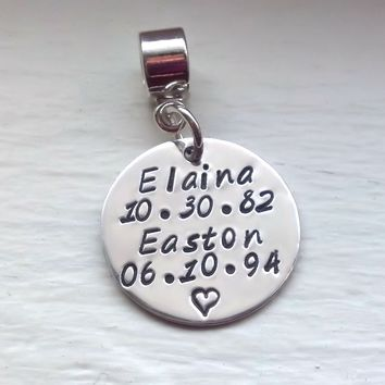 Personalized European Charm Bead, Hand Stamped Sterling Silver