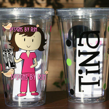 Personalized Nurse Tumbler -  Dental Hygienist, X-Ray Tech - Travel Cup - Nurse's Week - Choose Your Nurse Style and Colors - Great Gift