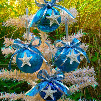 Starfish Ornaments-SET OF 4-Beach Wedding Favors, Beach Holiday Decor, Starfish, Mermaids, Christmas Ornament, Coastal Holiday Decor