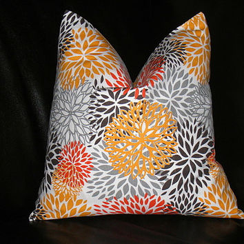Orange Pillow ONE Decorator Throw Pillow by LittlePeepsHomeDecor