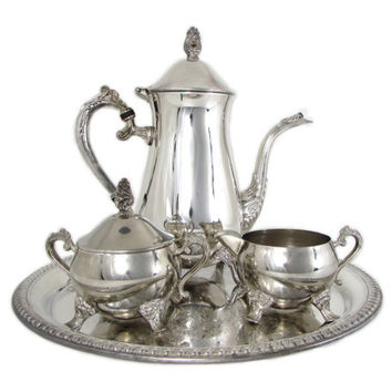 International Silver Co Silver Plated Coffee Set Embossed Round Gadroon Tray Pot Creamer Lidded Sugar Bowl