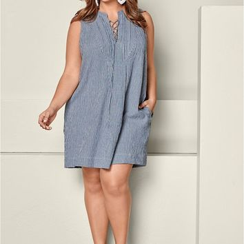 Lace Up Stripe Dress in Pale Blue Multi | VENUS