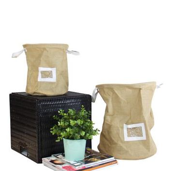 Drawstring Top Linen Storage Basket with Handles and Label Window (Set of 2)