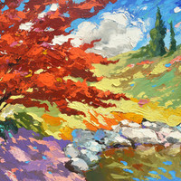 "Red tree near the pond. Oil Painting on canvas by Dmitry Spiros.  Size: 36""x36"" (90 x 90 cm)"