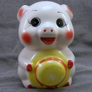 Vintage CUTE Pottery Piggy Bank Hat-in-Hand made in Japan