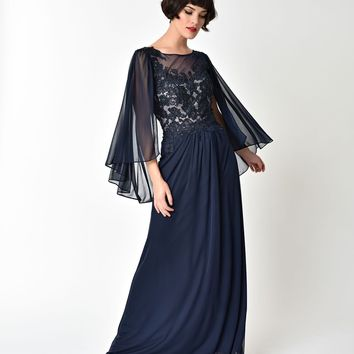 Navy Blue Embellished Mesh Sleeved Cape Gown