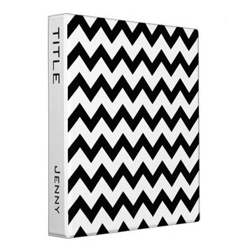 Custom White Black Chevron Zigzag Line Pattern 3 Ring Binders