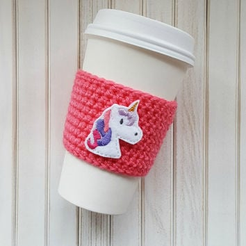 Coffee Cozy   Crochet Coffee Cozy   Unicorn Gift   Coffee Cup Sl