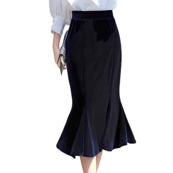 DCCK7G2 2017 Autumn Winter Women Gold Velvet Mermaid Skirt Blue Velour Elastic Waist England Casual Midi Long Ruffle Skirt 2276LY
