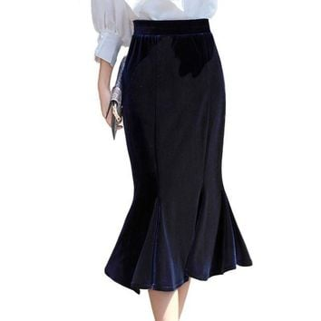 LMFONHC 2017 Autumn Winter Women Gold Velvet Mermaid Skirt Blue Velour Elastic Waist England Casual Midi Long Ruffle Skirt 2276LY