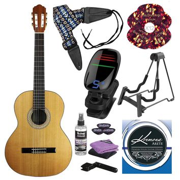 Kremona S65C Soloist Series Nylon String Guitar and Deluxe Guitar Accessory Bundle