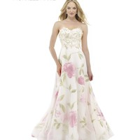 Preorder - Morrell Maxie 15172 White & Pink Floral Strapless A-Line Dress 2016 Prom Dresses