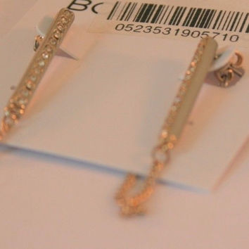 BCBGeneration Gold Tone Pave Crystal Stick And Chain Front and Back Earrings