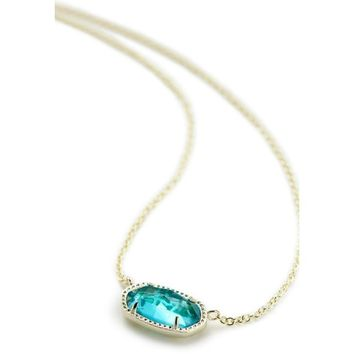 Kendra Scott: Elisa Gold Tone Necklace In London Blue Glass