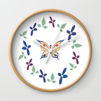 Floral Butterfly Wall Clock by sm0w