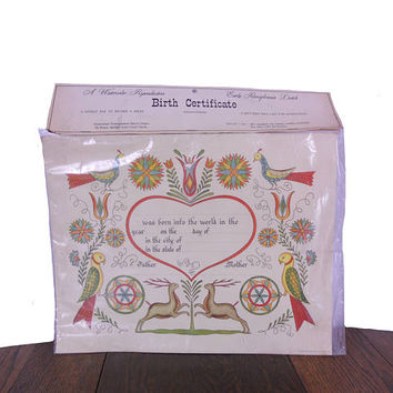 "Vintage 1960s Birth Certificate A Watercolor Reproduction of Early Pennsylvania Dutch - Antiqe Ivory Cover Stock - 11"" x 14"" Paper Ephemera"