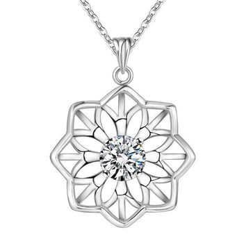 ON SALE - Sparkling Sunflower CZ Sterling Silver Necklace
