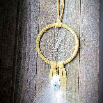 Deer Skin Raw Quartz DREAM CATCHER~Tan Gemstone~Bohemian~HAMSA~Dream Catcher~Wall Hanging ~Healing Ornament~Home Decor~Mdogstudios~