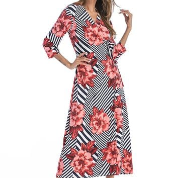 Floral Long Sleeve V neck Maxi Dress
