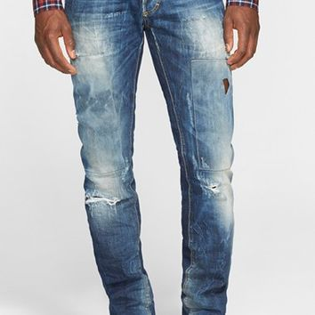 Men's Dsquared2 Slim Fit Ripped and Repaired Jeans ,