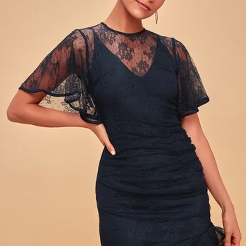 Get Free Navy Blue Lace Mini Dress