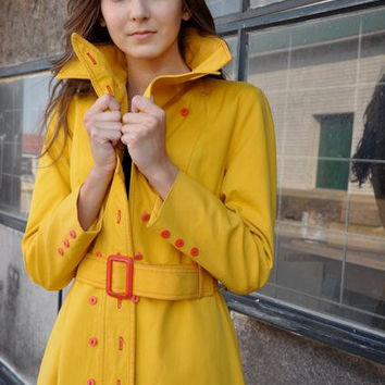 SALE Mustard yellow trench coat with red stitching by bfyvintage