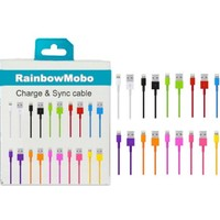 RainbowMOBO (TM) 10 Color 8-pin to USB 2.0 Charging + Sync Adapter for iPhone 5 / 5S / 5C / iPad 4 & mini & iPod Touch 7th (Multi Colors))