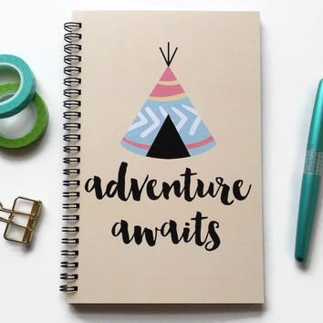 Writing journal, spiral notebook, bullet journal, cute journal, blue sketchbook, teepee, travel journal, blank lined grid - Adventure awaits